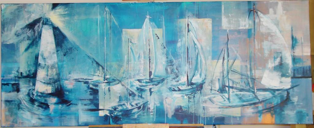 blue safe harbor Acryl op doek 150cm x 60cm Privébezit