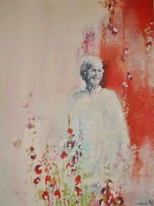 in herinnering acryl op doek, mixed media 30cm x 21cm privécollectie