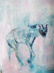 turquase: hyena Acryl op doek 83cm x 100cm € 664,00