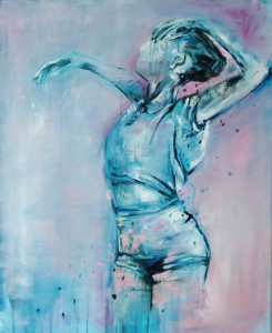 turqoise: mademoiselle Acryl op doek 83cm x 100cm privécollectie