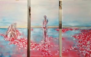 waterlelie drieluik acryl op canvas